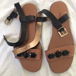 adjustable buckle & leather sparkly sandals.